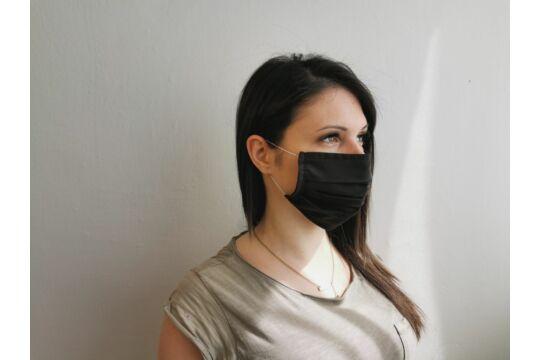 Fekete mosható, kétrétegű textil szájmaszk (többször használható)