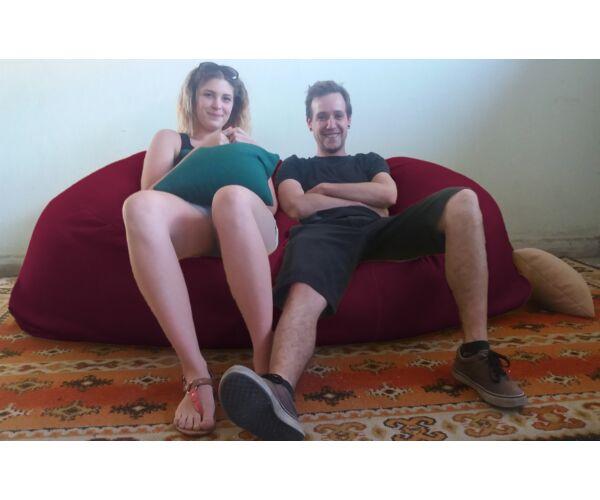 Bordó Relax babzsák kanapé
