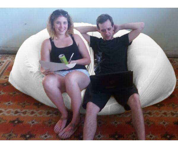Fehér Relax babzsák kanapé