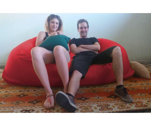 Meggypiros Relax babzsák kanapé
